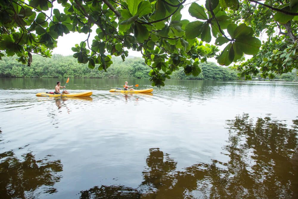 The Best 21 Free Things to do on Kauai with Kids featured by top Hawaii travel blog, Hawaii Travel with Kids: Wailua River is perfect for kayaking and leads to several Kauai waterfalls.