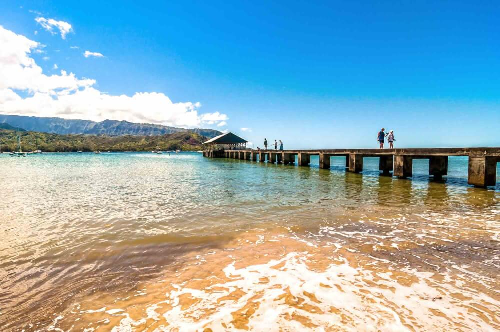 Hanalei Bay is a popular North Shore Kauai snorkeling beach
