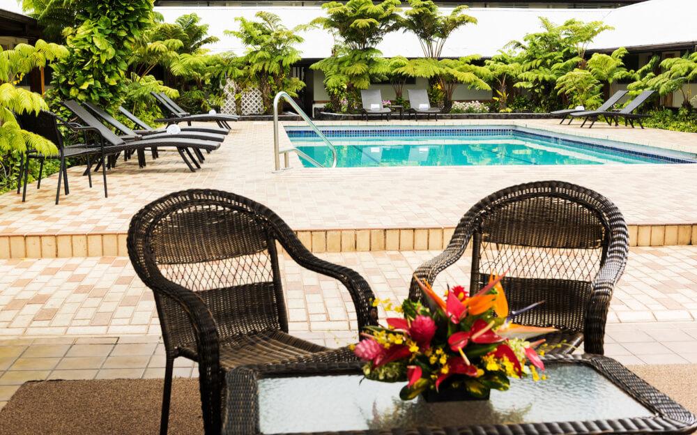 Hawaii on a Budget: Top 10 Cheap Big Island Hotels featured by top Hawaii travel blog, Hawaii Travel with Kids: The Hilo Seaside Hotel has a pool