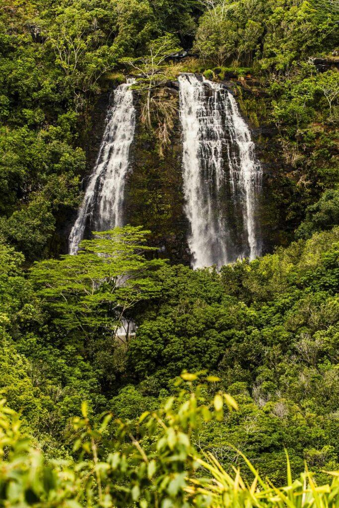 Opaekaa Falls is one of the best Kauai waterfalls worth visiting and one of the most popular things to do in Lihue Kauai. Image of a cascading waterfall on Kauai.