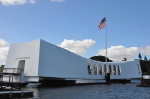 Find out how to book a Private Pearl Harbor Tour by top Hawaii blog Hawaii Travel with Kids. Image of the USS Arizona Memorial.