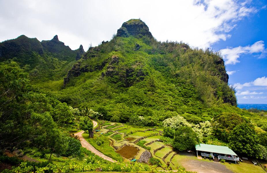View of Limahuli Gardens in Hanalei on Kauai