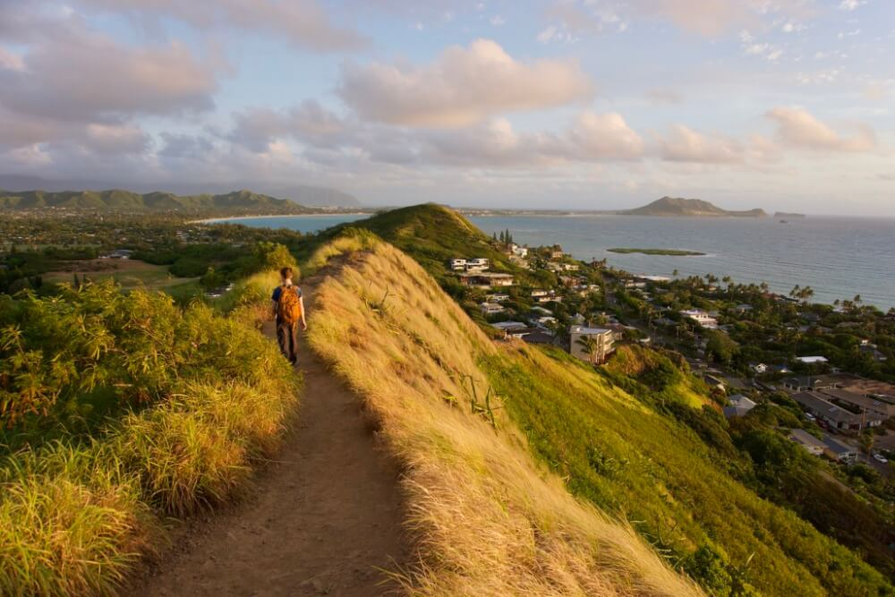 12 Breathtaking Oahu Waterfall Hikes featured by top Hawaii travel blog, Hawaii Travel with Kids | Lanikai Pillbox Trail is a famous waterfall hike on Oahu