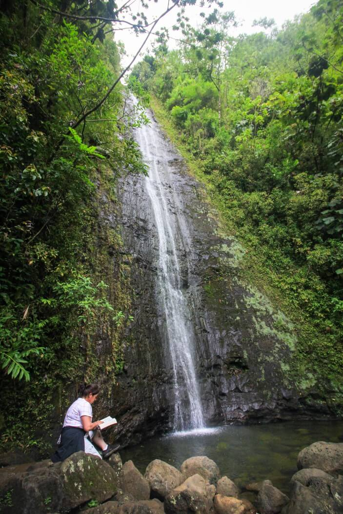 6 Easy Hikes on Oahu for Families featured by top Hawaii blog, Hawaii Travel with Kids: Manoa Falls is one of the most popular waterfall hikes on Oahu