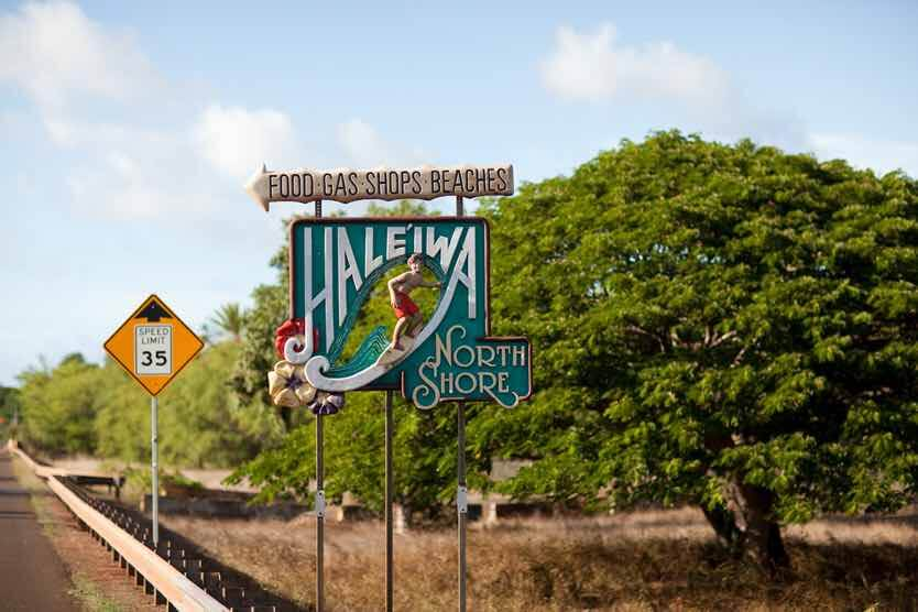 Best things to do in haleiwa oahu, featured by top Hawaii blog, Hawaii Travel with Kids: Nothing is more iconic that this Haleiwa sign as you enter North Shore Oahu