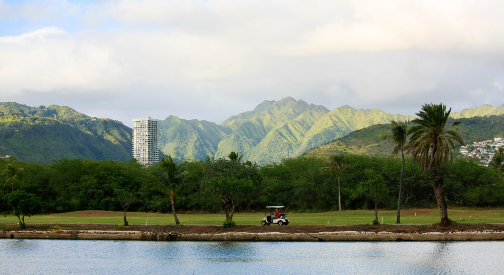 the Best Oahu Golf Courses featured by top Hawaii blog, Hawaii Travel with Kids: image of Ala Wai Golf Course on Oahu