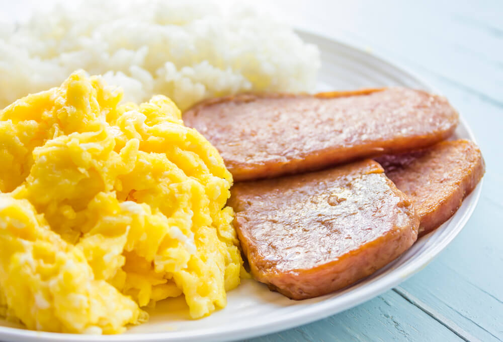 Best Breakfasts in Kauai featured by top Hawaii blog, Hawaii Travel with Kids: Spam and eggs is one of the items you'll find at these Kauai breakfast spots