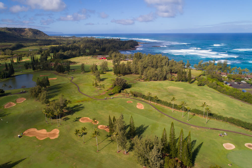the Best Oahu Golf Courses featured by top Hawaii blog, Hawaii Travel with Kids: image of Turtle Bay Golf Course on Oahu
