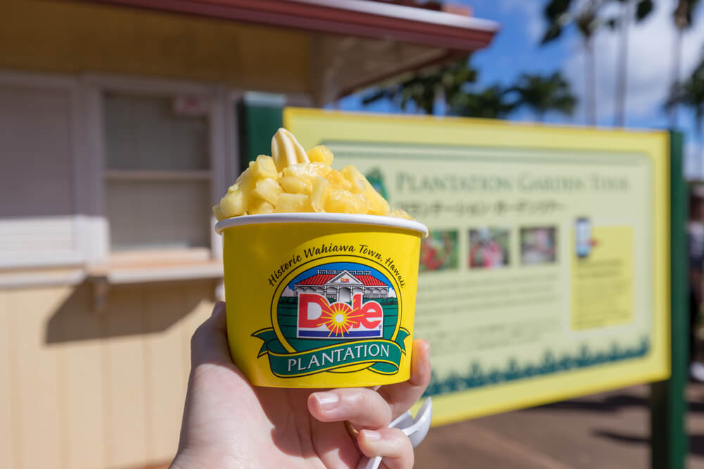Best things to do in haleiwa oahu, featured by top Hawaii blog, Hawaii Travel with Kids: Dole Whip pineapple ice cream at Dole Plantation on Oahu
