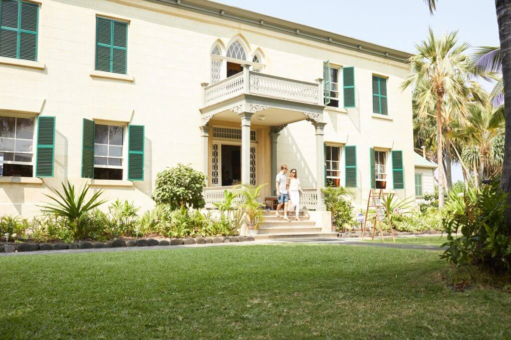 Front entrance to Hulihee Palace on the Big Island of Hawaii.