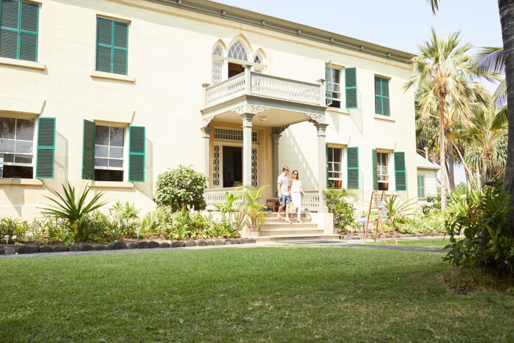 The Best Things to Do in Kona Hawaii featured by top Hawaii blog, Hawaii Travel with Kids: Front entrance to Hulihee Palace