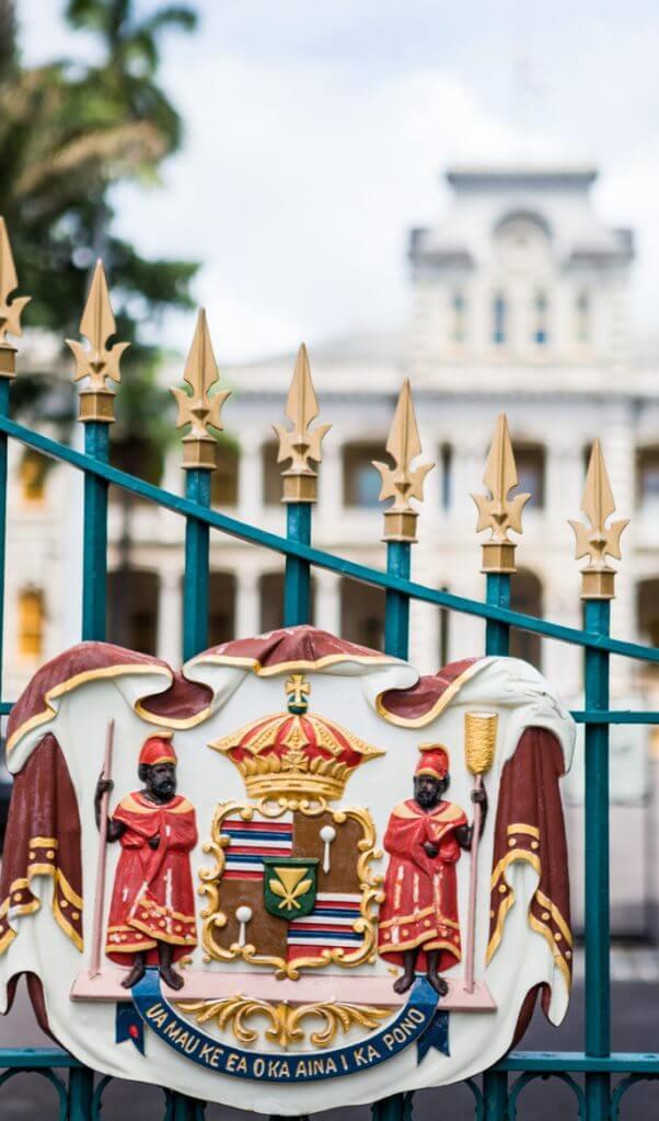 Royal Seal on a gate to Iolani Palace on Oahu