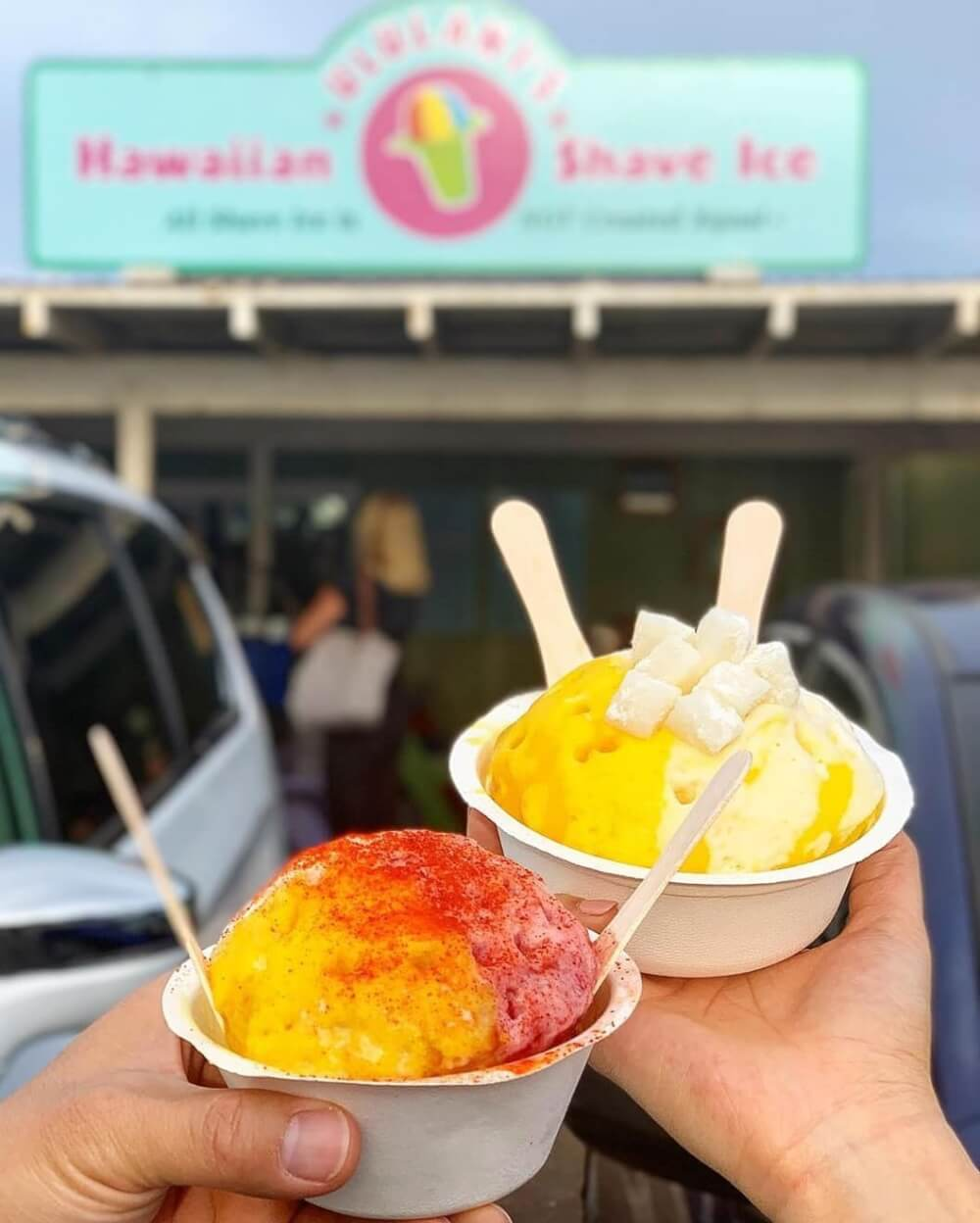 50 Best Places to Visit in Hawaii with your Family featured by top Hawaii blog, Hawaii Travel with Kids: Ululani's Hawaiian Shave Ice on Maui