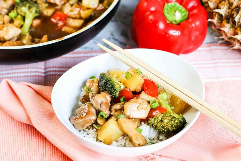 Pineapple Chicken Stir Fry Recipe featured by top Hawaii blog, Hawaii Travel with Kids.