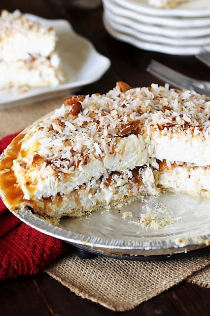 61 Delicious Coconut Dessert Recipes Perfect for Summer featured by top Hawaii blog, Hawaii Travel with Kids: Frozen Coconut Caramel Pie Image