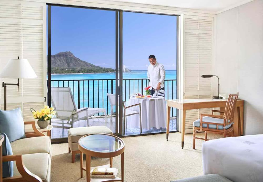 Top 8 Romantic Oahu Honeymoon Resorts featured by top Hawaii blog, Hawaii Travel with Kids: Halekulani Hotel room on Oahu