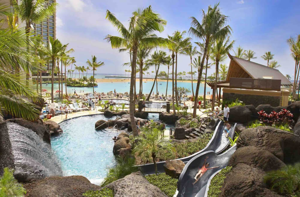Top 8 Romantic Oahu Honeymoon Resorts featured by top Hawaii blog, Hawaii Travel with Kids: Hilton Hawaiian Village