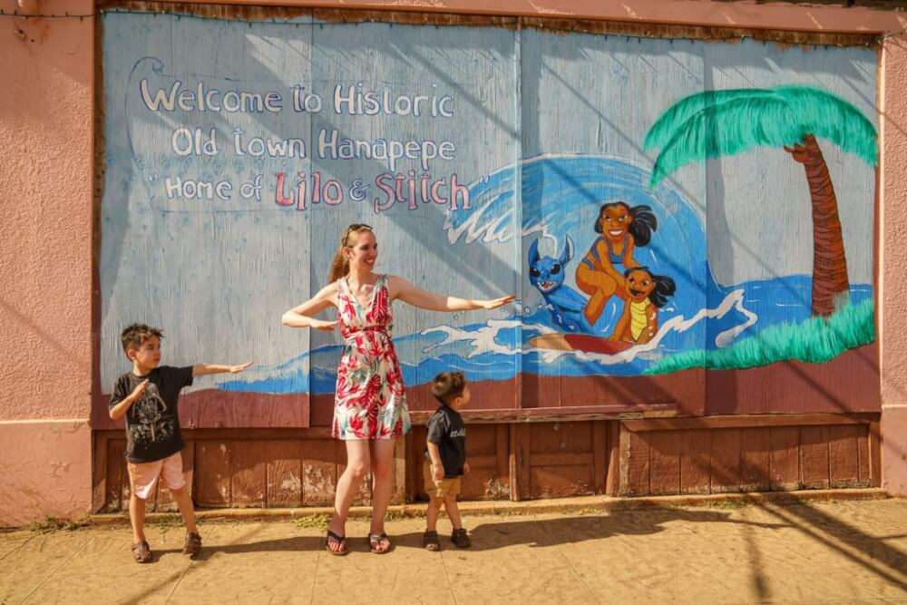 Top 12 Best Photo Opportunities on Kauai featured by top Hawaii travel blog, Hawaii Travel with Kids: For a fun photo opportunities on Kauai, check out the LIlo & Stitch mural in Hanapepe.