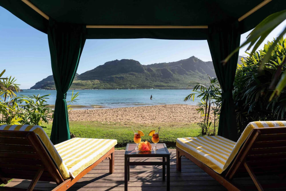 Beach cabana at Kauai Marriott Resort