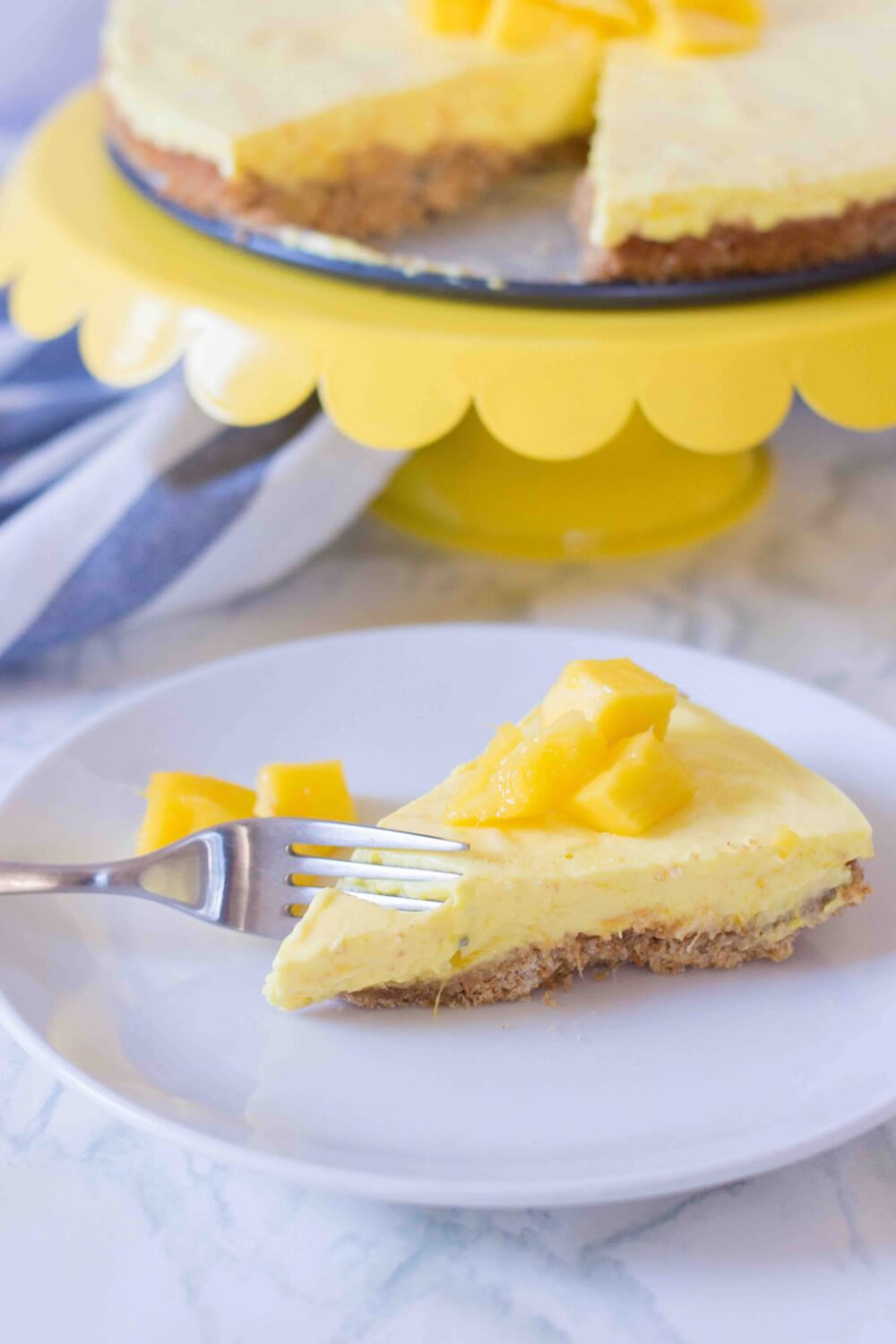 Best Mango dessert recipes by top Hawaii blog Hawaii Travel with Kids: No Bake Mango Mousse Cake