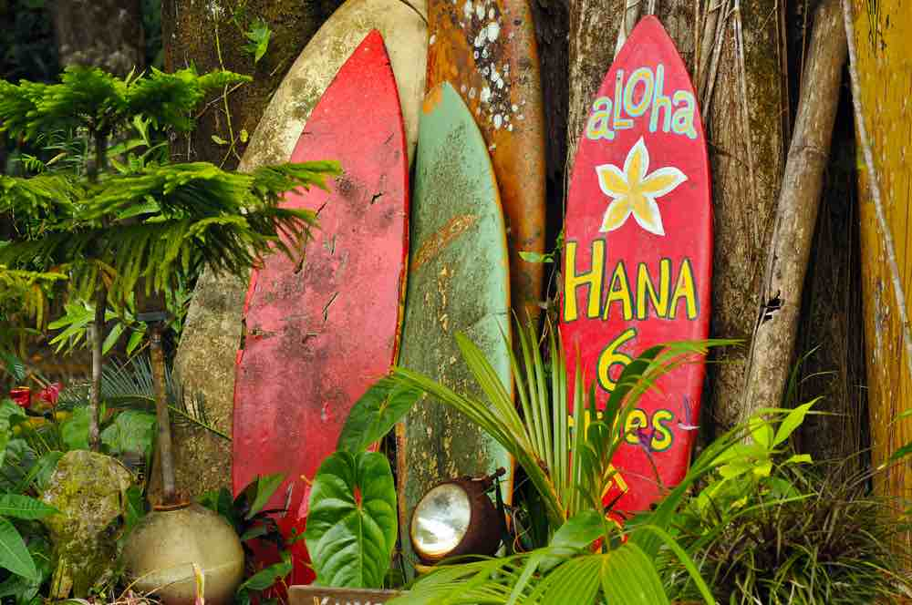 Find out cool things to do on Maui with kids. Image of colorful surfboards on the Road to Hana.