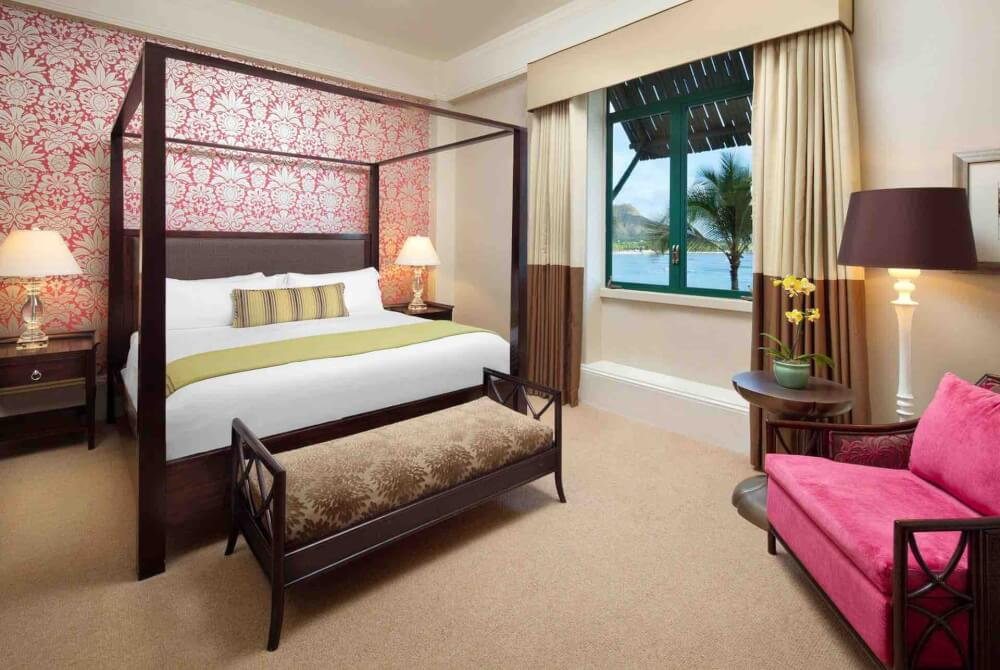 Top 8 Romantic Oahu Honeymoon Resorts featured by top Hawaii blog, Hawaii Travel with Kids: Royal Hawaiian Hotel room