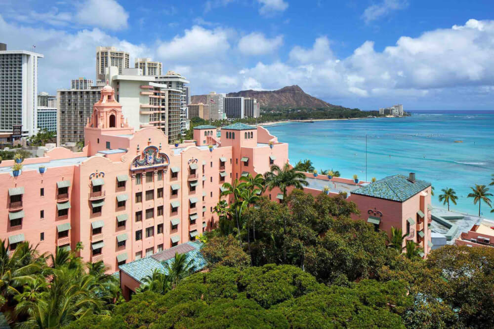Top 8 Romantic Oahu Honeymoon Resorts featured by top Hawaii blog, Hawaii Travel with Kids: The Royal Hawaiian Hotel in Waikiki, Oahu