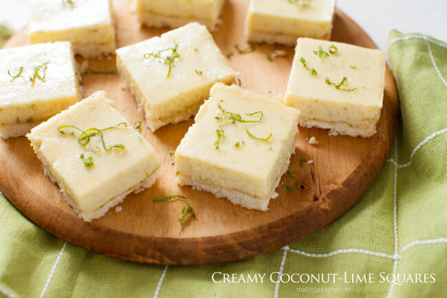 61 Delicious Coconut Dessert Recipes Perfect for Summer featured by top Hawaii blog, Hawaii Travel with Kids: Creamy Coconut Lime Squares from thelittlekitchen.net