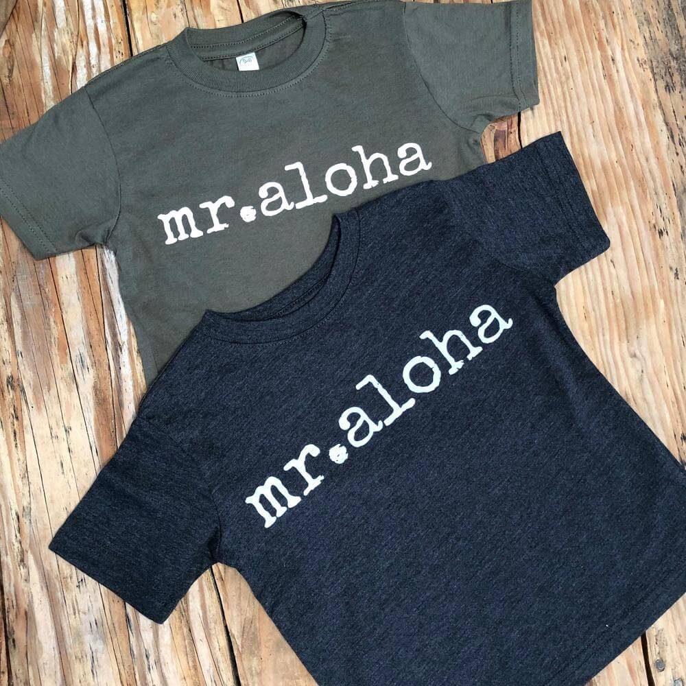 """Top 15 Best Kauai Souvenirs featured by top Hawaii blog, Hawaii Travel with Kids: Ivy & Co. printed shirts that say """"Mr. Aloha"""" on them"""