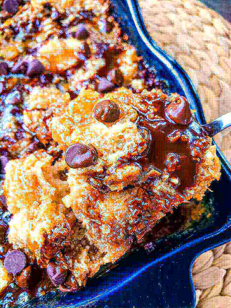 61 Delicious Coconut Dessert Recipes Perfect for Summer featured by top Hawaii blog, Hawaii Travel with Kids:Samoa Bread Pudding is full of Samoa Girl Scout Cookie flavors of caramel, chocolate, and coconut in a simple dessert recipe. #girlscoutcookies #samoas #breadpudding