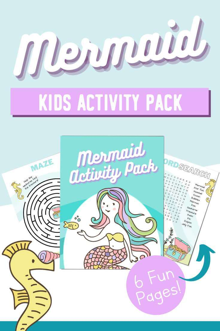 Mermaid Activity Pack: Free Printable! Perfect for a mermaid party or as a fun kids printable activity to do at home.