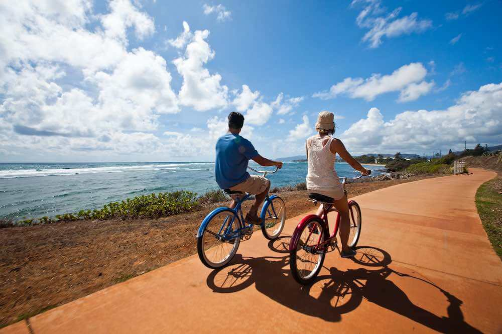 101 Best Things to Do on Kauai with Kids featured by top Hawaii blog, Hawaii Travel with Kids: Rent a bike on Kauai and take it on the bike path