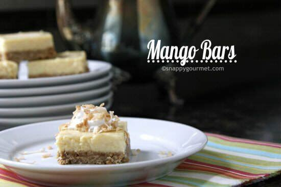 Best Mango dessert recipes by top Hawaii blog Hawaii Travel with Kids: Mango Bars Recipe | snappygourmet.com
