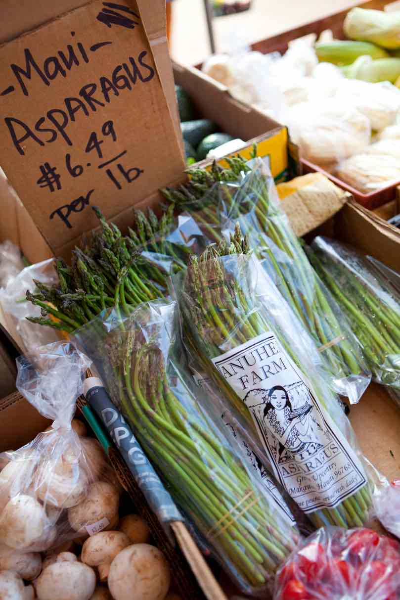 7 Best Maui Farmers Markets Worth Checking Out featured by top Hawaii travel blog, Hawaii Travel with Kids: Image of asparugus