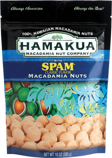 Top 13 Best Hawaiian Souvenirs to Bring Home featured by top US Hawaii blog, Hawaii Travel with Kids: Spam Flavored Macadamia Nuts from Hamakua Macadamia Nut Company