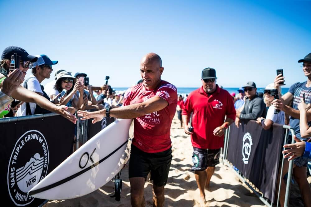 Oahu Surfing On The North Shore, a complete guide featured by top Hawaii blog, Hawaii Travel with Kids: Kelly Slater at the Billabong Pipe Masters. Photo credit: WSL/Cestari