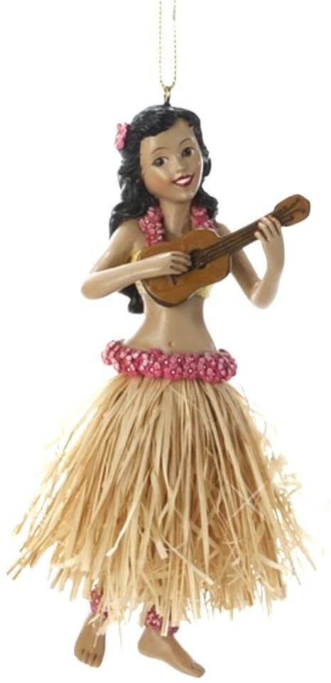 20 Hawaiian Christmas Ornaments featured by top Hawaii blogger, Hawaii Travel with Kids: Hula girl Christmas ornament