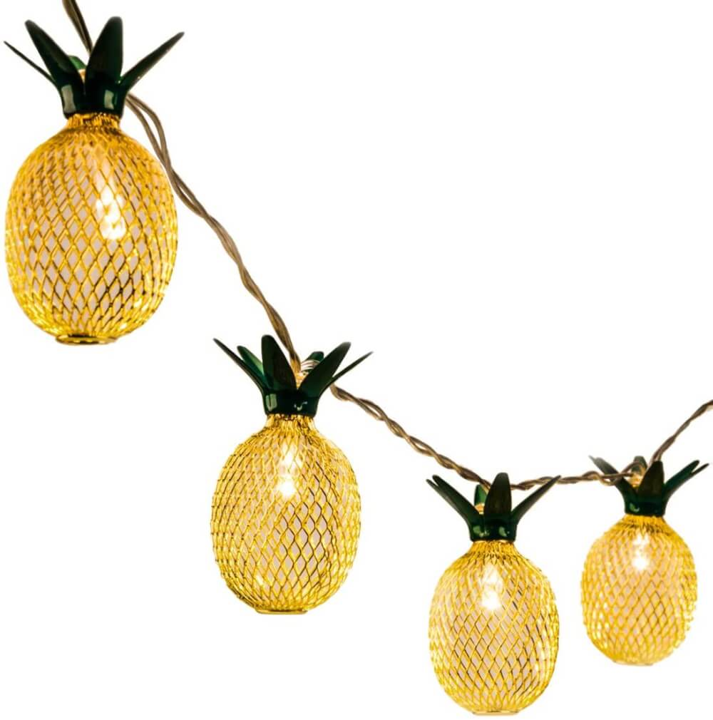 Best Hawaiian Christmas Decorations featured by top Hawaii blogger, Hawaii Travel with Kids: Add some Hawaiian Christmas decorations to your home this holiday season with these top Hawaii Christmas decorations ideas from top Hawaii blog Hawaii Travel with Kids. Image of Pineapple String Lights