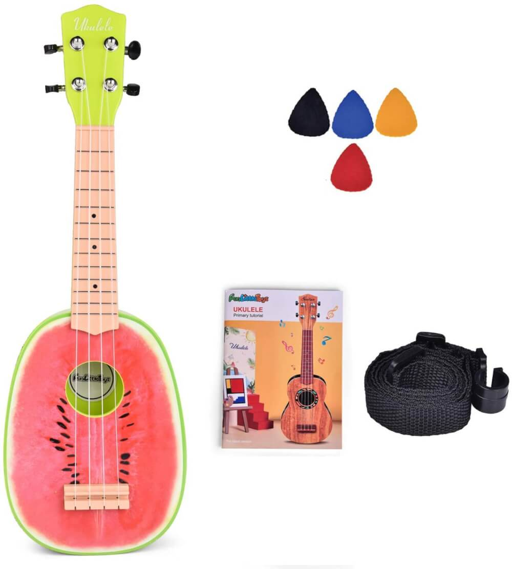 Find out the best toddler ukulele to buy in this ukulele guide by top Hawaii blog Hawaii Travel with Kids. Image of a Fun Little Ukulele that looks like a watermelon