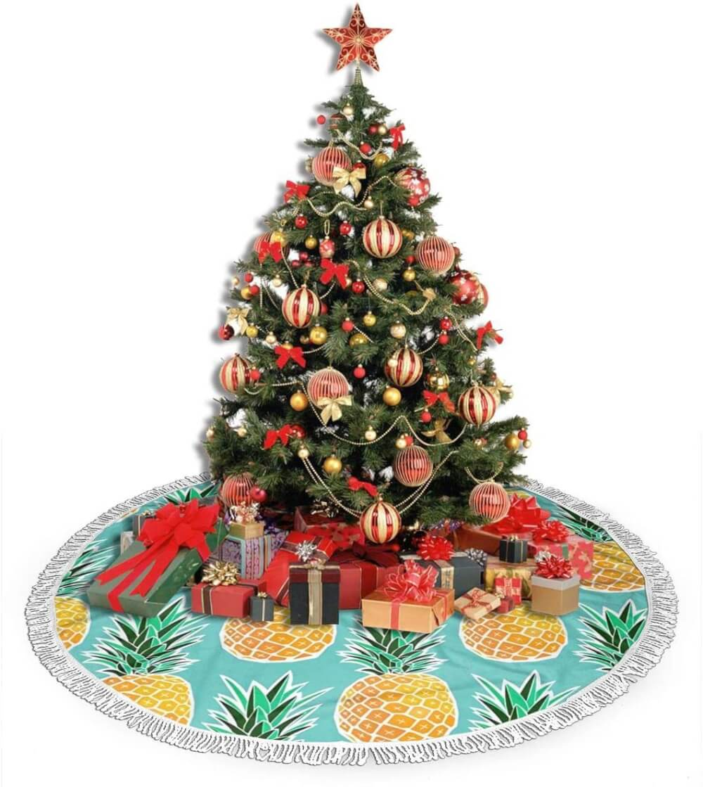 Best Hawaiian Christmas Decorations featured by top Hawaii blogger, Hawaii Travel with Kids: Add some Hawaiian Christmas decorations to your home this holiday season with these top Hawaii Christmas decorations ideas from top Hawaii blog Hawaii Travel with Kids. Image of Pineapple Christmas Tree Skirt