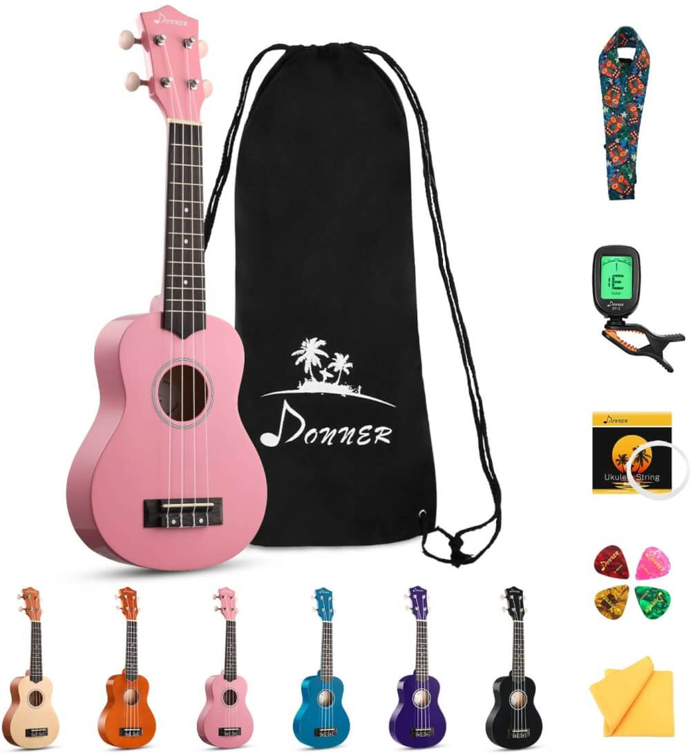 Find out the best toddler ukulele to buy in this ukulele guide by top Hawaii blog Hawaii Travel with Kids. Image of a Donner ukulele.