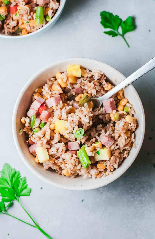 Hawaiian Pineapple Fried Rice by top Hawaii blog Hawaii Travel with Kids