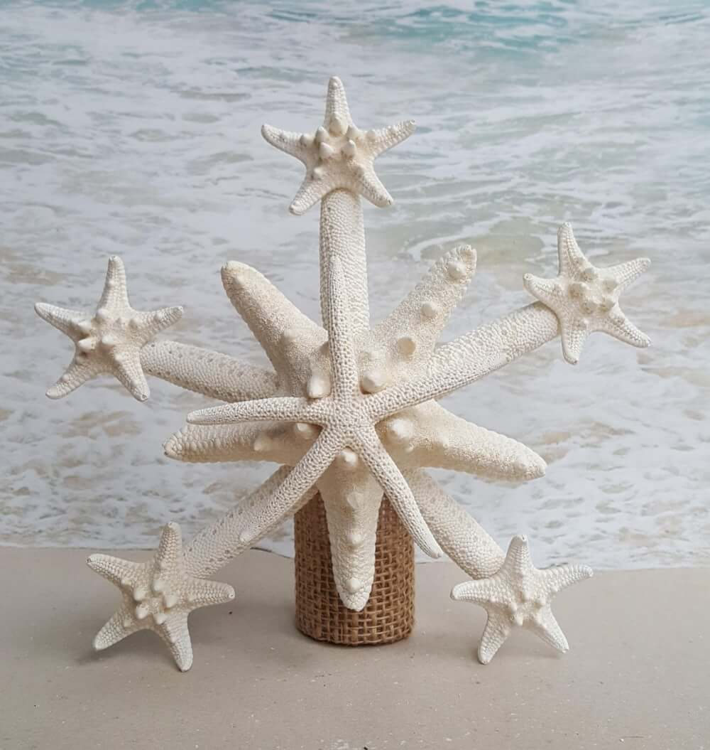 Best Hawaiian Christmas Decorations featured by top Hawaii blogger, Hawaii Travel with Kids: Add some Hawaiian Christmas decorations to your home this holiday season with these top Hawaii Christmas decorations ideas from top Hawaii blog Hawaii Travel with Kids. Image of Deluxe Starfish Tree Topper Natural Gold or Silver Glitter