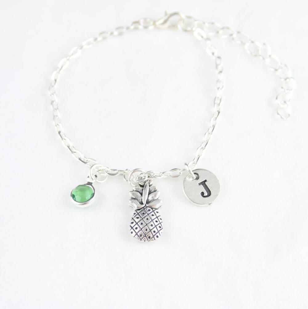 Cute Pineapple Gifts from Etsy featured by top Hawaii blog, Hawaii Travel with Kids: Silver Pineapple Anklet Women Pineapple Charm Anklet Silver image 0