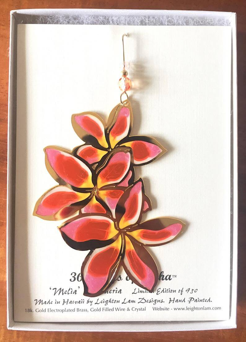 20 Hawaiian Christmas Ornaments featured by top Hawaii blogger, Hawaii Travel with Kids: Plumeria Flower Ornament image 0