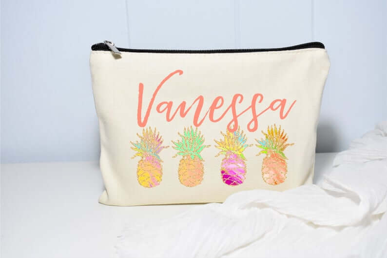 Cute Pineapple Gifts from Etsy featured by top Hawaii blog, Hawaii Travel with Kids: Pineapple Bag Pineapple Beach Bag Pineapple Makeup Bag image 0