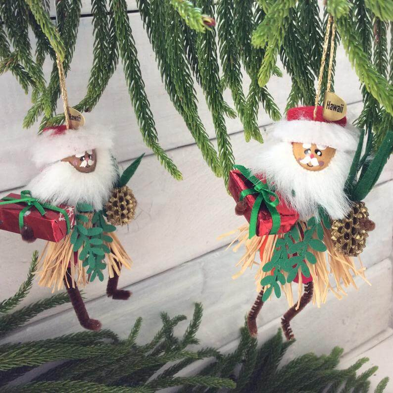 20 Hawaiian Christmas Ornaments featured by top Hawaii blogger, Hawaii Travel with Kids: Hawaiian Christmas decoration Hula Santa Christmas image 0