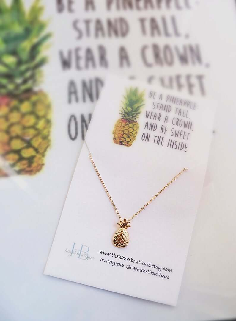 Cute Pineapple Gifts from Etsy featured by top Hawaii blog, Hawaii Travel with Kids: Pineapple Necklace Dainty Pineapple Necklace image 0