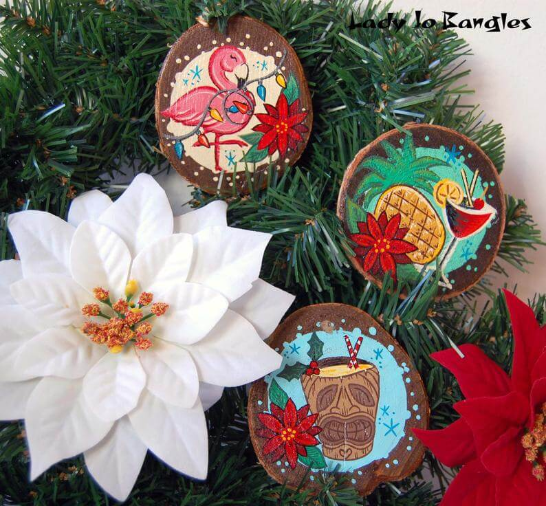 20 Hawaiian Christmas Ornaments featured by top Hawaii blogger, Hawaii Travel with Kids: Tropical Wood Slice Christmas Tree Ornament Decoration Tiki image 0