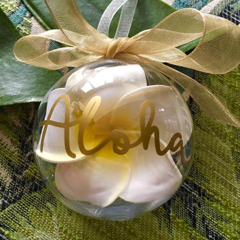 20 Hawaiian Christmas Ornaments featured by top Hawaii blogger, Hawaii Travel with Kids: Aloha Ornament Personalized Christmas Ornament Hawaiian image 0